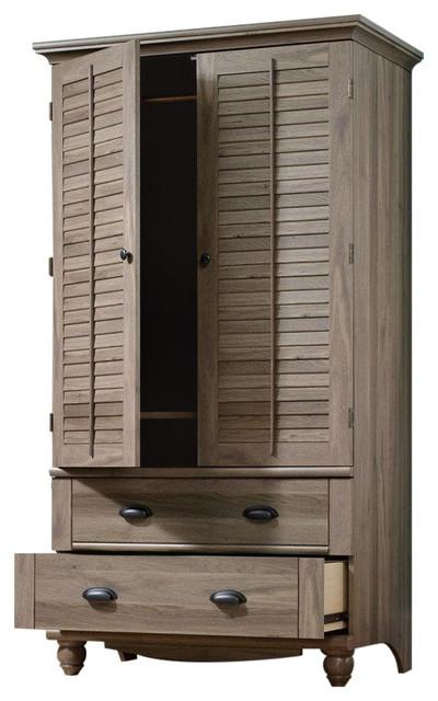 Wardrobe Cabinet Bedroom Storage or TV Armoire, Medium Brown Oak .