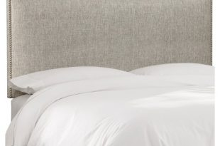Arcadia Nailbutton Metallic Upholstered Headboard - Skyline .