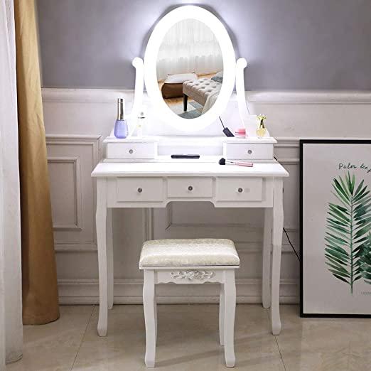 Amazon.com: SANGDA Vanity Table Set,5 Drawers Makeup Dressing Desk .