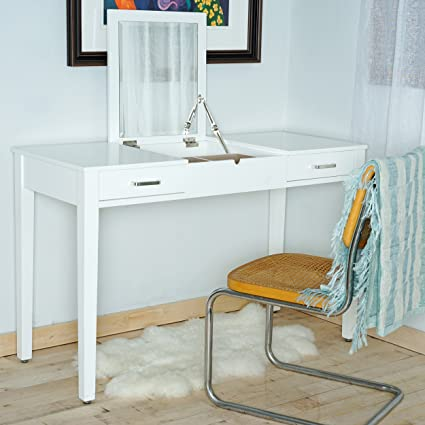 Amazon.com: Posh Pollen Ainsley Vanity Desk - White: Kitchen & Dini