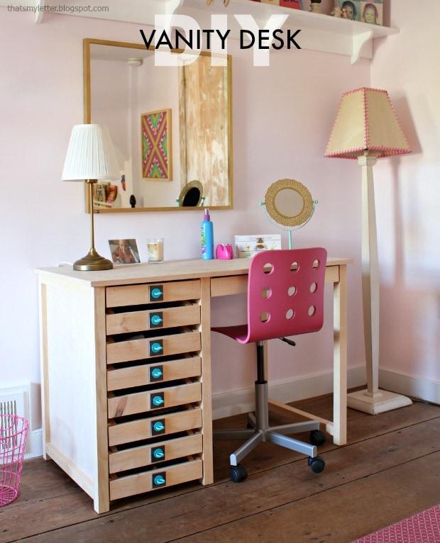 DIY Vanity Desk with Modern Hardware Pulls - Jaime Costigl