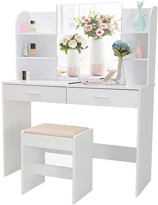 Amazon.com: Large Vanity Set with Mirror & Cushioned Stool, Makeup .