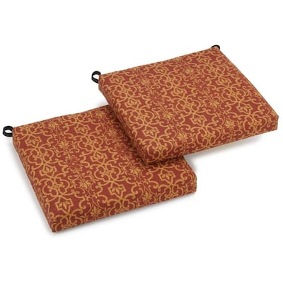 Blazing Needles Solarium 2-Piece Vanya Paprika Patio Chair Cushion .