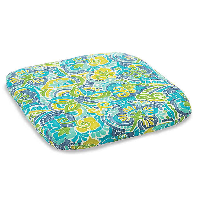 Outdoor Chair Cushion in Mosaic Blue | Bed Bath & Beyo