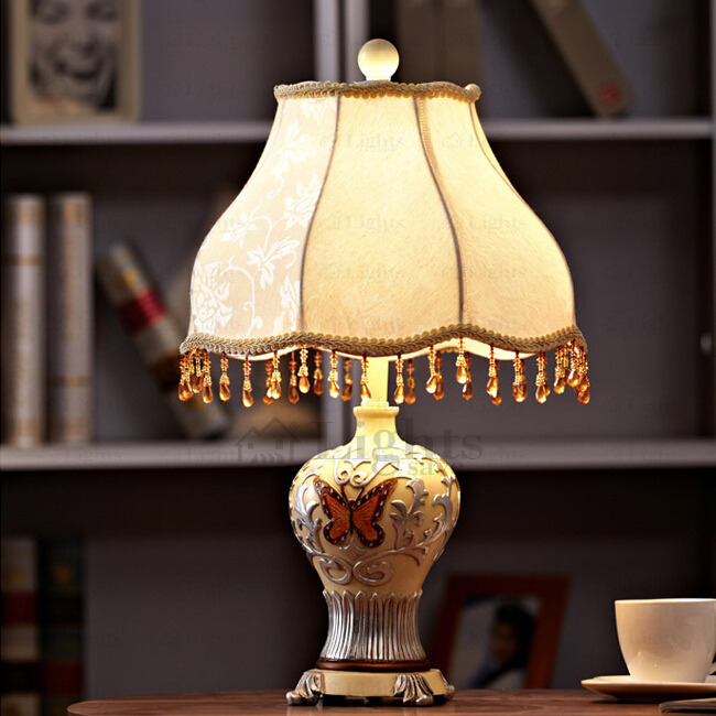 Tassel Vintage Bedside Lamps Resin Fixture and Fabric Sha