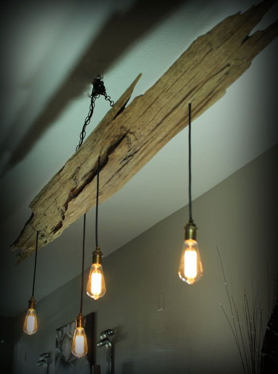 Cypress driftwood vintage light fixture by Rivershackcustoms .
