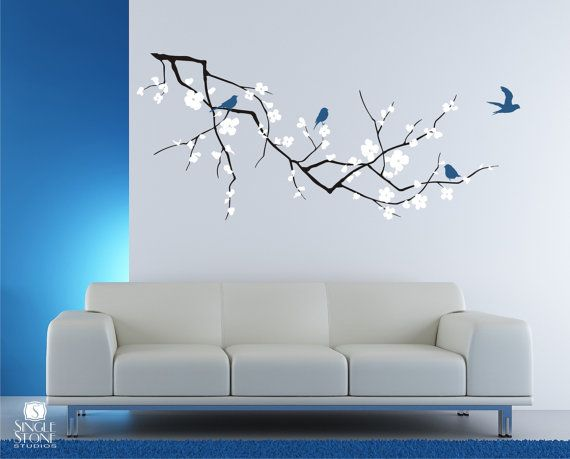 Cherry Blossom Tree Branch Wall Decal with Birds - Vinyl Wall Art .