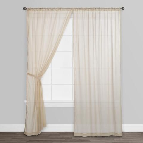 Beige Sleeve Top Cotton Sheer Voile Curtains, Set of 2 | World .