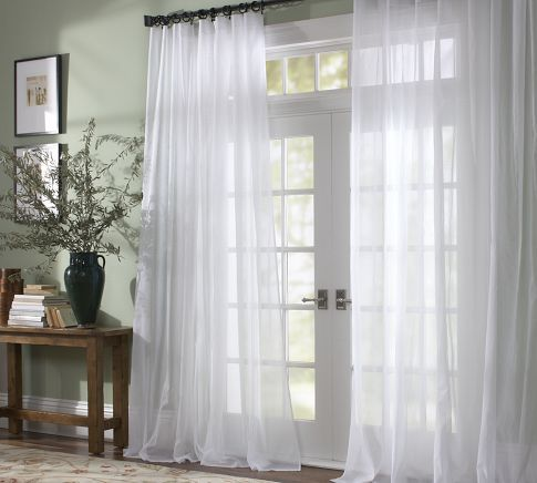 Classic Voile Sheer Curtain - Alabaster | Door coverings, Patio .