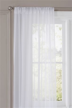 Cotton muslin voile curtains. Lets the air and light in, blocks .