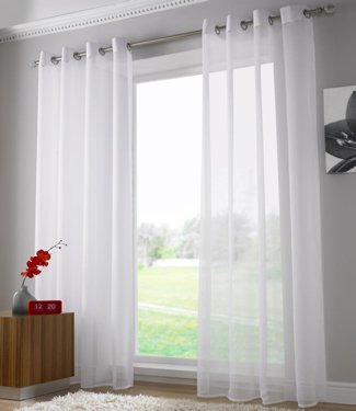 Plain Voile Curtain Panel, Ring Top Heading, Eyelet Voile Curtains .
