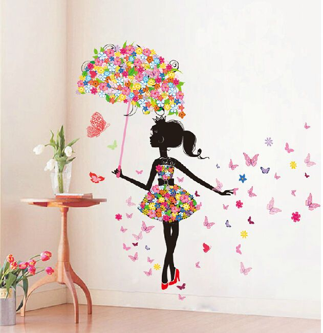 Butterfly Girl Removable Wall Art Sticker Vinyl Decal DIY Room .