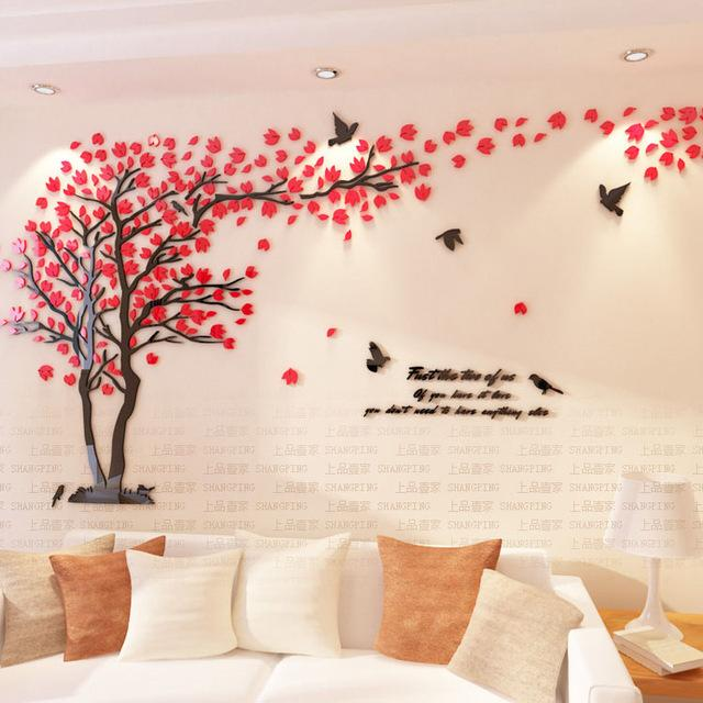 Crystal 3D Modern Tree Wall Art Stickers For Living Room .