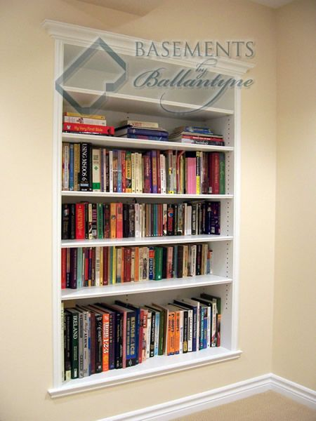 recessed bookshelves in between the wall studs, talk about space .