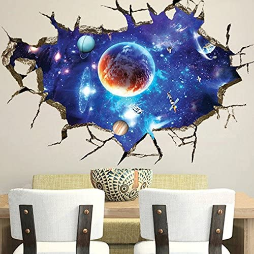Amazon.com: 3D Outer Space Wall Stickers Home Decor Mural Art .