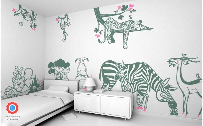 Jungle Wall Stickers, Savanna Wall Decor for Nursery or Kids Ro