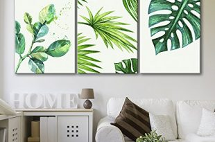 Style Green Tropical Leaves Wall Decor x3 Panels - Canvas Art | Wall