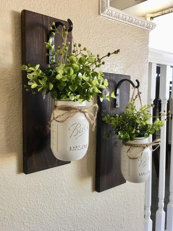 Mason Jar Hanging Planter Home Decor Wall Decor Rustic | Et