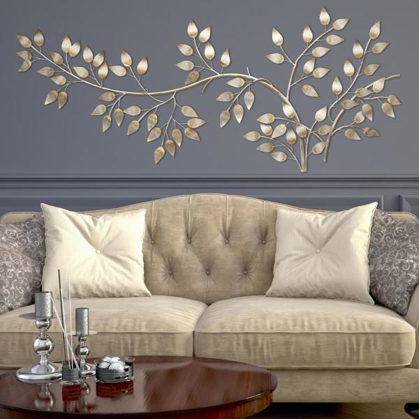Stratton Home Decor Brushed Gold Flowing Leaves Wall Decor SHD0106 .