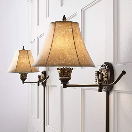Rosslyn Rustic Swing Arm Wall Lamps Set of 2 French Country Bronze .