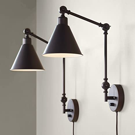 Wray Modern Industrial Up Down Swing Arm Wall Lights Set of 2 .