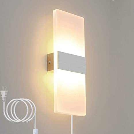 Amazon.com: Bjour Modern Wall Sconce Plug in Wall Lamps LED Up .