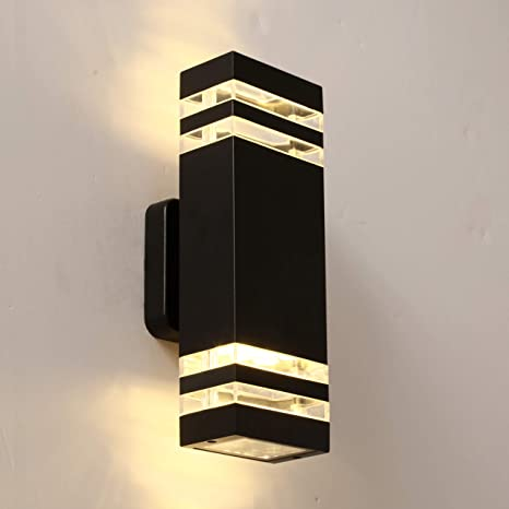 LANFU LED Wall Sconce Waterproof Porch Light 12W, Black Modern .