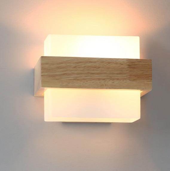 Loft Decor Wood Glass Wall Sconce Lights Modern LED Wall Light .