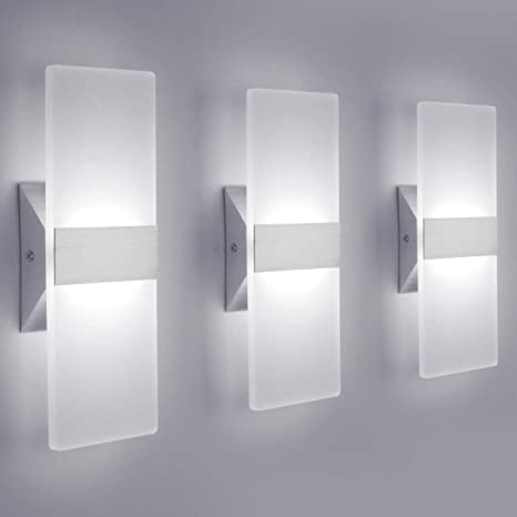 LED Wall Sconce Modern Wall Light Lamps 12W Cool White 6000K Up .
