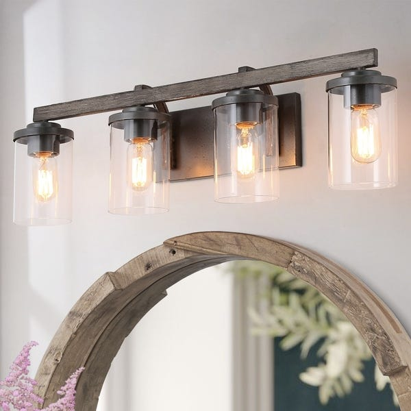 Shop LNC 3/4-Light Bathroom Vanity Lighting Wall lights Rustic .