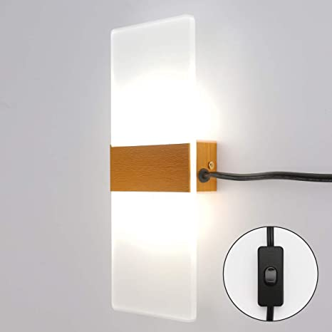 Modern LED Wall Sconces Acrylic Wall Lights Plug in Cord with on .