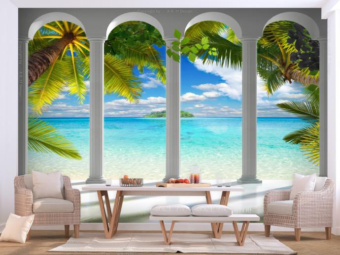 Photo Wallpaper Sea behind Columns - Sea - Landscapes - Wall Mura