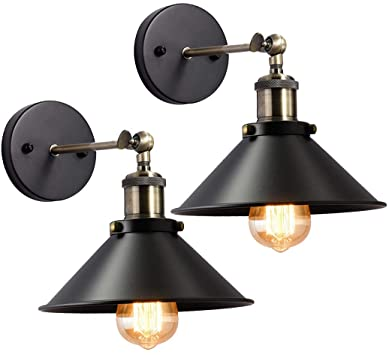 Wall Sconces Set of 2, Lysed Black Rustic Sconce, Industrial .