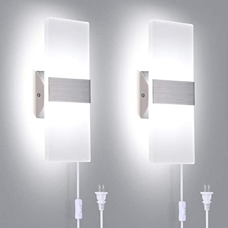 TRLIFE Modern Wall Sconces Set of 2, Plug in Wall Sconces 12W .
