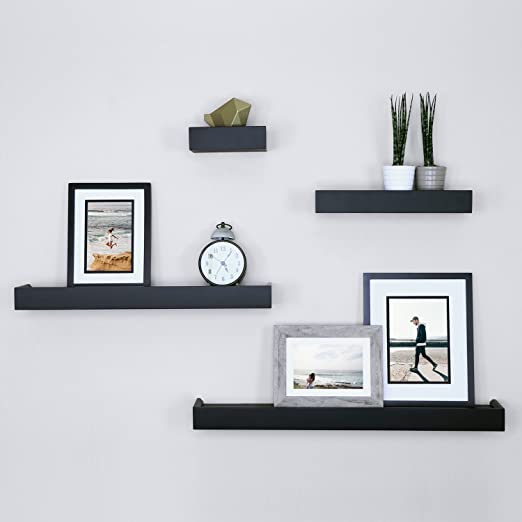 Amazon.com: Ballucci Modern Ledge Wall Shelves, Set of 4, Black .