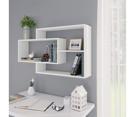 vidaXL Wall Shelves White Chipboard Hanging Display Storage .