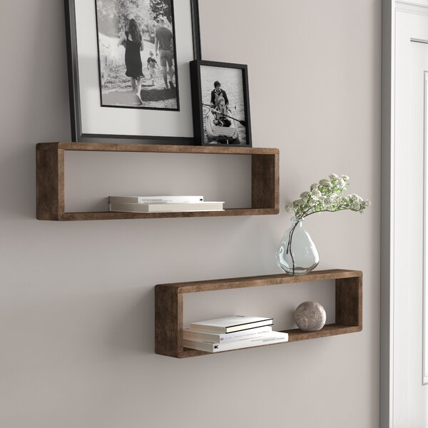 Three Posts Hampden Stackable Long Box 2 Piece Wall Shelf Set .