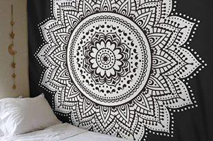 Amazon.com: Madhu International Black White Mandala Tapestry .