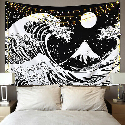 Wall Tapestry Black and White Wall Hanging The Great Wave .