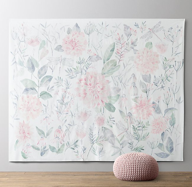 Botanical Watercolor Grand Canvas Wall Tapest