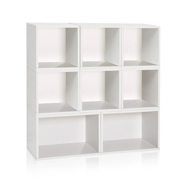 White Stackable Modular Cubby Organizer and Bookcase - Way Basi