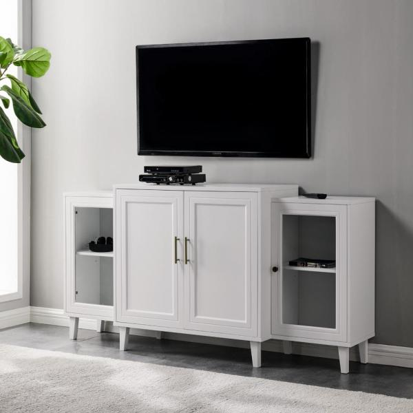Welwick Designs 62 in. White Tiered Modern Sideboard 4-Door HD8368 .