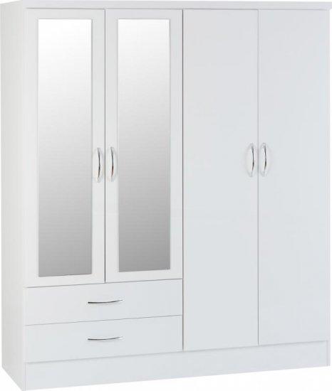 Nevada 4 Door 2 Drawer Mirrored Wardrobe - White Glo