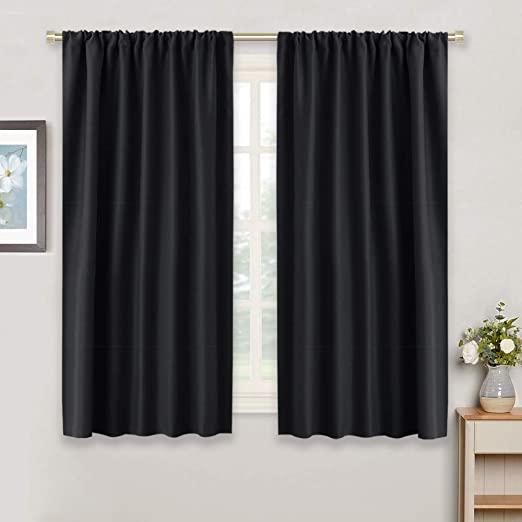 Amazon.com: RYB HOME Black Window Curtains - Rod Pocket Slot Top .