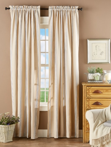 French Ticking Rod Pocket Window Curtains | Vermont Country Sto