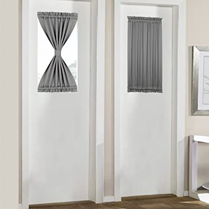 Amazon.com: PANOVOUS Grey French Door Curtains for Small Windows .