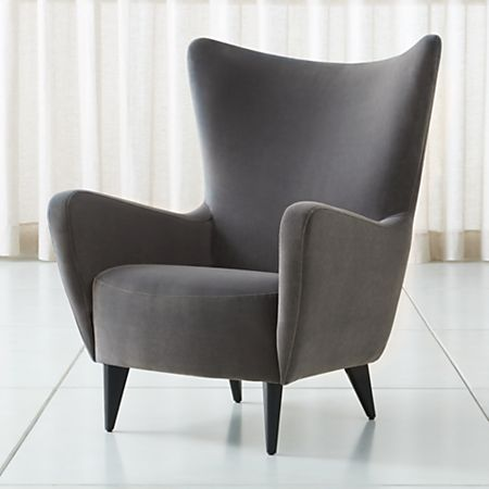 Elsa Grey Velvet Wingback Chair + Reviews | Crate and Barr
