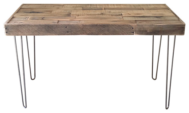 Reclaimed Wood Desk With Steel Hairpin Legs - Rustic - Desks And .