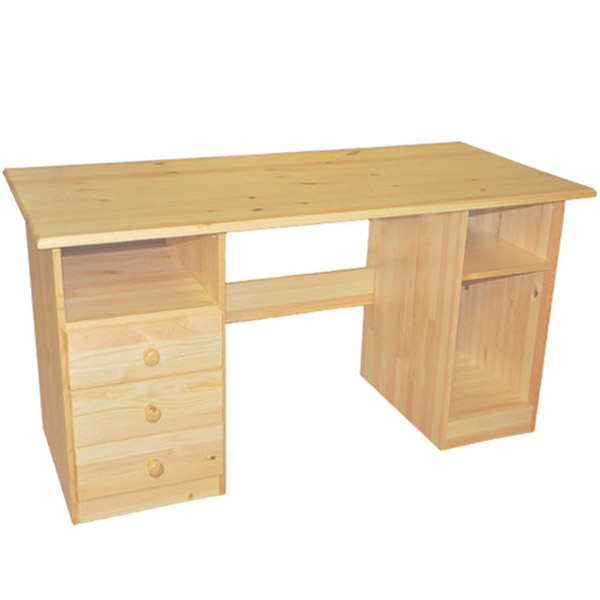 Large Solid Wood Desk with 3 Drawers Natural | Student Wood Des