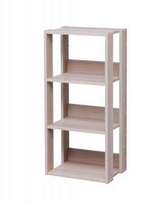 Mado 3-Shelf Open Wood Shelving Unit, Light Bro